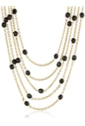 Signature 1928 Black Beaded Gold-Tone Five-Strand Necklace, 16""
