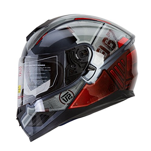 IV2 Falcon 967 -'THE MECH' Mercenary Mech High Performance Dual Visor, Full Face Street Motorcycle Helmet with Retractable Sun Shield - Original Design Series [DOT] - Large