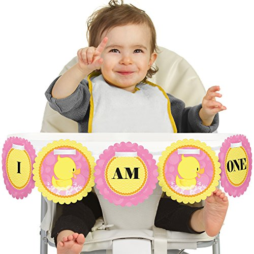 Big Dot of Happiness Pink Ducky Duck 1st Birthday - I Am One - First Birthday High Chair Banner (Pink Ribbon Rubber Ducks)