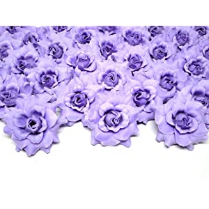"""(100) Silk Purple Roses Flower Head - 1.75"""" - Artificial Flowers Heads Fabric Floral Supplies Wholesale Lot for Wedding Flowers Accessories Make Bridal Hair Clips Headbands Dress 2"""