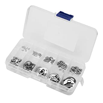 120Pcs Stainless Steel E-Clip Retaining Snap Ring Circlip Kit 1.5mm to 10mm