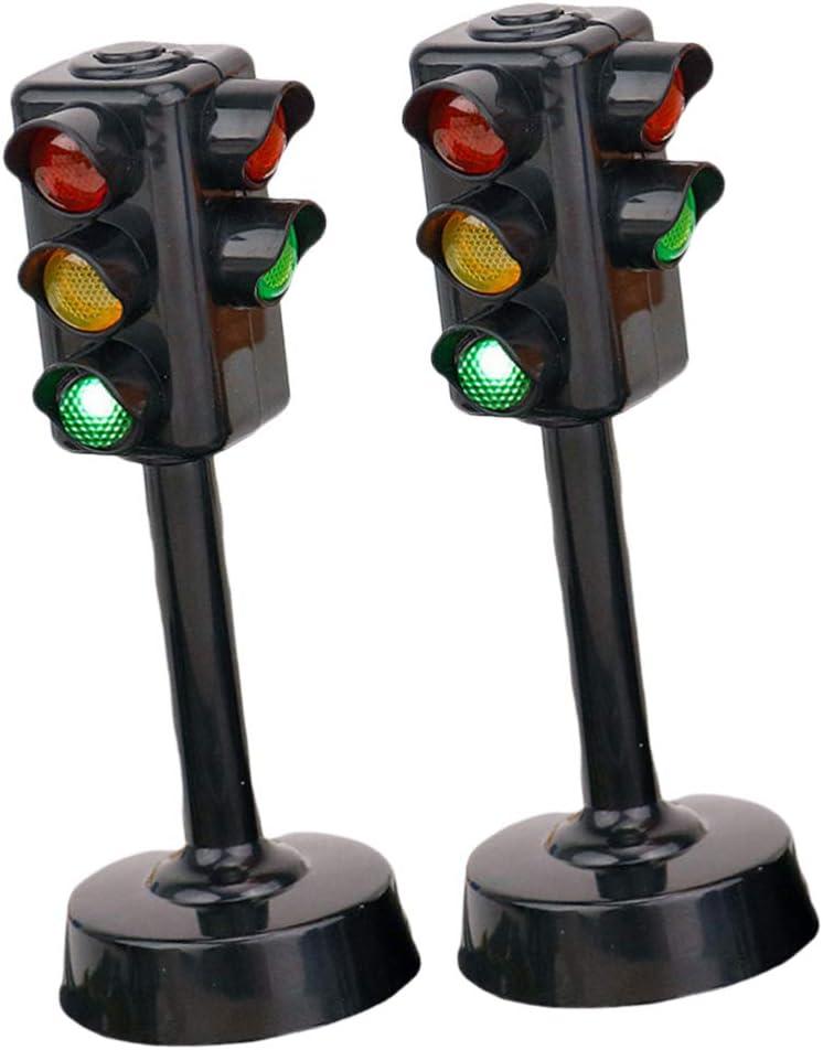 NUOBESTY 4-Teilige Ampellampe mit Sockel Und Licht Mini-Ampel-Lampe Blinkende Dekoration f/ür Kinder Lernspielzeug zum Vorget/äuschten Spielen