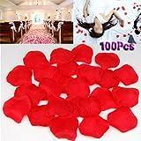 Gleader 100 x ROSSO SCURO TESSUTO DI LUSSO petali di rosa per il matrimonio San Valentino Festa REGALO