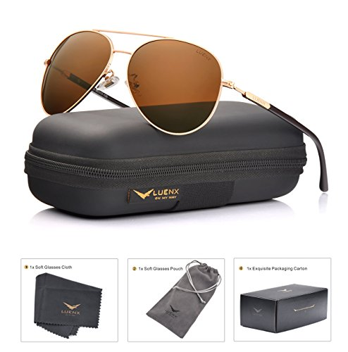 LUENX Aviator Sunglasses Mens Womens Polarized Brown Plastic Lens Gold Metal Frame Large 60mm