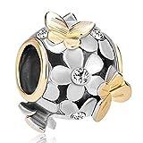 Pugster Silver 22k Gold Flower Golden Butterfly Charm Beads Fit Pandora Bracelet