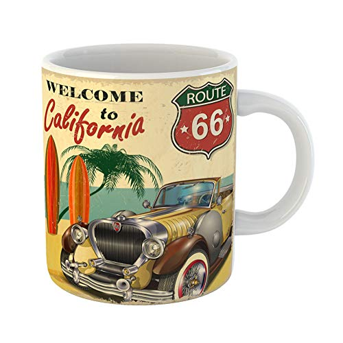 Emvency Coffee Tea Mug Gift 11 Ounces Funny Ceramic Car Welcome to California Retro Vintage Beach Gifts For Family Friends Coworkers Boss -
