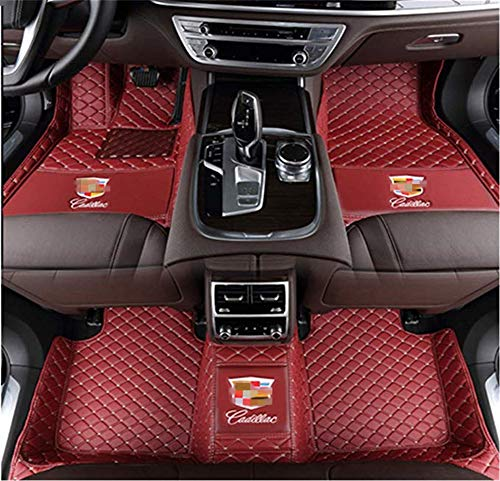 Custom Fit XPE Leather 3D Full Surrounded Waterproof Car Floor Mats for Cadillac ATS CTS CT6 SRX XT5 XTS Waterproof Non-Slip Carpets (Wine red)