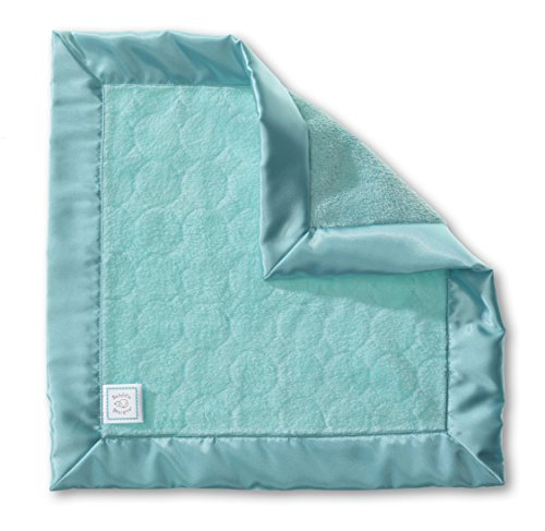 SwaddleDesigns Baby Lovie, Small Security Blanket, Jewel Tone Puff Circles with Satin Trim, Turquoise