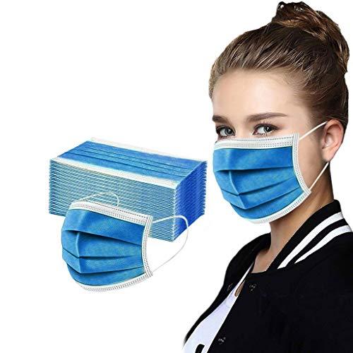 GSusan Masque_Facial_Jetable 50 Pièces ???????????????????????? de Confortable, à Trois Couch????s Protection Recommandé pour Les Hommes et Les Femmes (Bleu marin-50pcs)