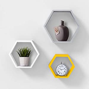 AHDECOR Wall Mounted Hexagon Floating Shelves, Wooden Wall Organizer Hanging Shelf for Home Decor, Set of 3, White & Grey & Yellow