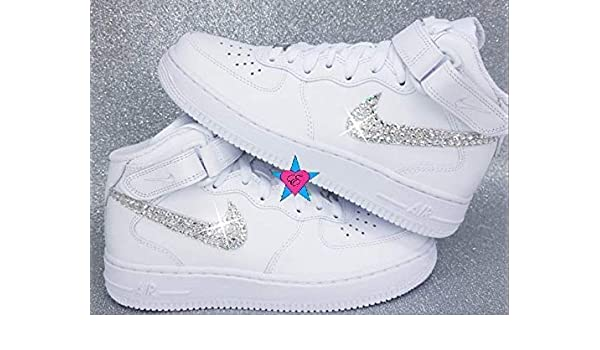 Amazon Com Bling Sneakers Force 1 Bedazzled White Nike Air Force