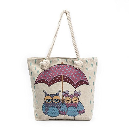 ParaCity Women Beach Tote Canvas Shoulder Bag Anchor Summer Handbag Top Handle Bag Straw Beach Bag Shopping Bag with Cotton Rope Handle Owl02