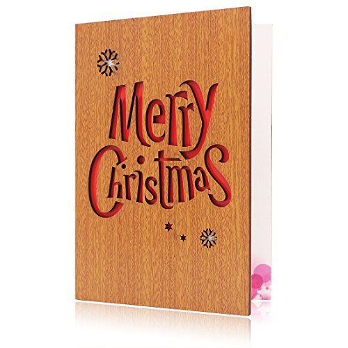 Christmas Greeting Cards Handmade Wooden Christmas Card Gift Card Merry Christmas and Happy New Year 6.1X4.3inch