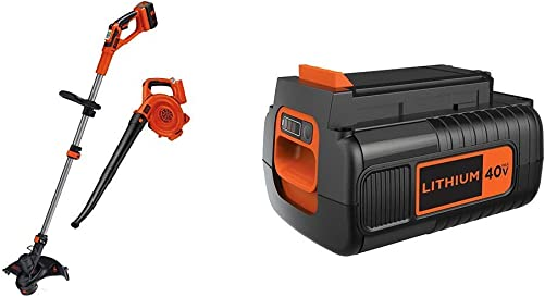 BLACK DECKER 40V MAX String Trimmer Edger and Sweeper Combo with Extra Battery, 2.0-Ah LCC140 LBX2040
