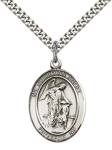 F A Dumont Sterling Silver Guardian Angel Pendant with 24