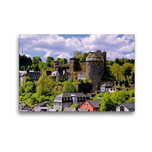 CALVENDO Toile de Lin de qualité supérieure - 45 cm x 30 cm - Motif Burg Monschau - Tableau sur châssis - Impression sur Toile véritable Orte
