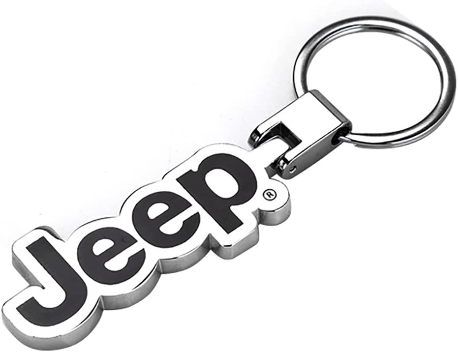 Nero Toppower Jeep Portachiavi Anello Molto Spessa 3D Lucidato Effetto Cromato