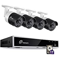 Loocam 4CH 1080P HD-TVI Video DVR Security Camera System 4x 2.0 MP(1920x1080P) Surveillance Camera Kit 1TB Hard Drive, Motion Detection & Email Alert, Intuitive Android & iOS APP