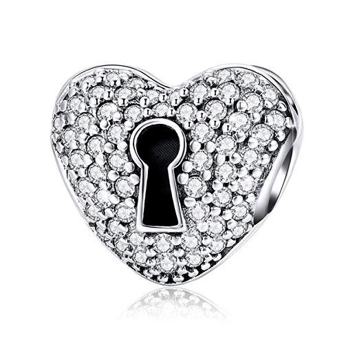 (BAMOER 925 Sterling Silver Lock Heart Charms Beads Fit Snake Chain Bracelet Necklace Pendant)