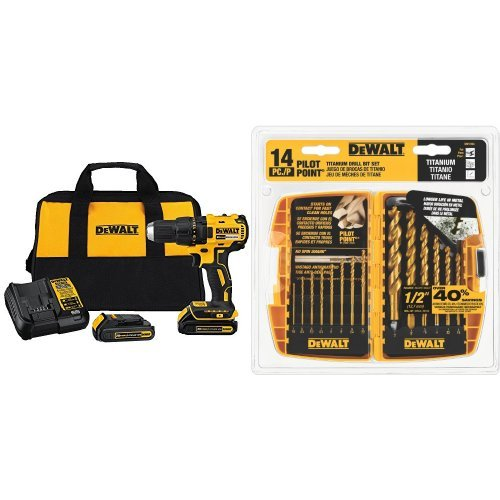 DEWALT DCD777C2 20V Max Lithium-Ion Brushless Compact Drill Driver with DW1354 14-Piece Titanium Drill Bit Set by DEWALT