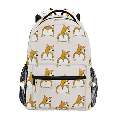 Backpack Cute Corgi Dog Butt Pattern Canvas School Bags Laptop Daypack