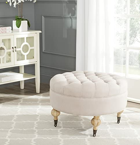 Safavieh Home Collection Clara Taupe Round Tufted Ottoman