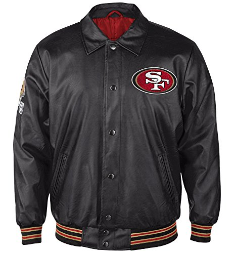 (San Francisco 49ers Neutral Zone Faux Leather Full-Zip Jacket - Black By G-III (MEDIUM))