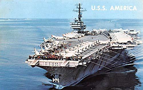 Military Battleship Postcard, Old Vintage Antique Military Ship Post Card USS America 1970