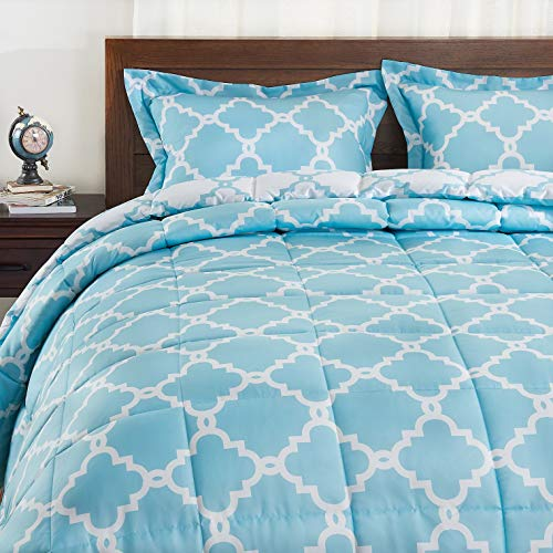 Basic Beyond Down Alternative Comforter Set (Twin/Teal) - Reversible Bed Comforter with 1 Pillow Sham for All Seasons (Teenage Comforter)