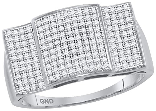 Pave Set Dome Ring (10kt White Gold Mens Round Pave-set Diamond Rectangle Dome Cluster Ring 1/2 Cttw (I2-I3 clarity; J-K color))