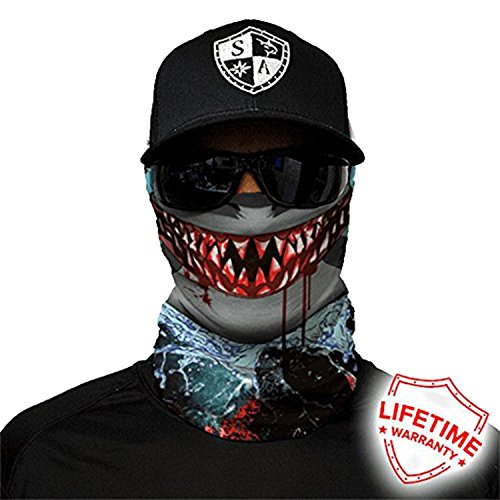 SA Company Face Shield Micro Fiber Protect From Wind, Dirt and Bugs. Worn as a Balaclava, Neck Gaiter & Head Band For Hunting, Fishing, Boating, Cycling, Paintball and Salt Lovers. - Sharp Edge - Edge Salt