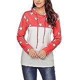 HHei_K Womens Trendy Star Print Color Block Drawstring Hoodie Long Sleeve Patchwork Sweatshirt