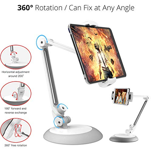 BROLAVIYA Iceberg Makers 360 Rotating Flexible Long Arms 4-10.5″ Dual Phone and Tablet Stand,Good for Kitchen, Bedroom, Living Room, Office, POS Kiosk Reception