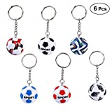 BESTOYARD 6pcs Soccer Ball Keychain Key Ring Football Fans Souvenir 2018 World Cup Soccer Fan Party Favor