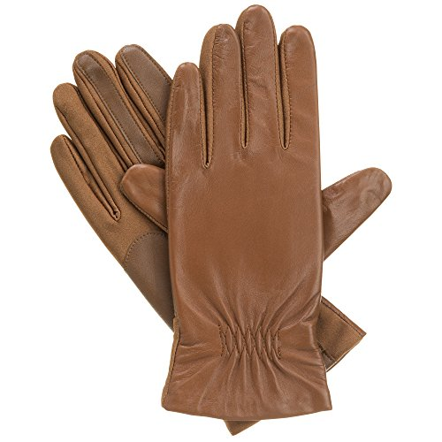 Isotoner Women's Stretch Leather smarTouch Gloves,  Luggage,  Small/Medium