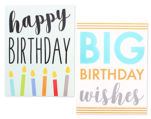 12 Pack Jumbo Big Happy Birthday Greeting Cards Assortment - Bulk Box Set - 6 Assorted Unique Multicolor Designs - Envelopes Included, 8.5 x 11 Inches Photo #7