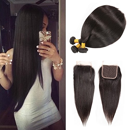 Huarisi 3 Bundles of Brazilian Straight Virgin Hair with Lace Closure Free Part Natural Color Unprocessed Human Hair Extensions for Black Women 18 20 22+16 Inches