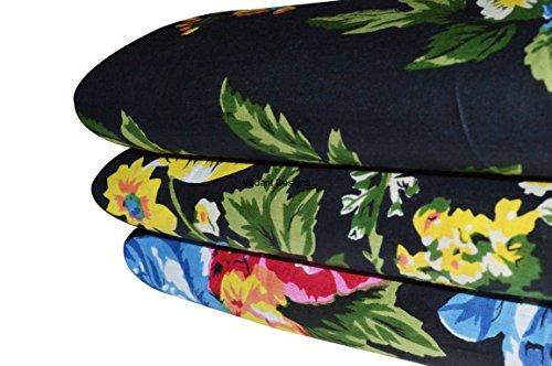 Vedant Designs 5 Yard Hand Block Print Fabric Dressmaking 100% Cotton Material Indian Sewing (Black, 5 Yard) -