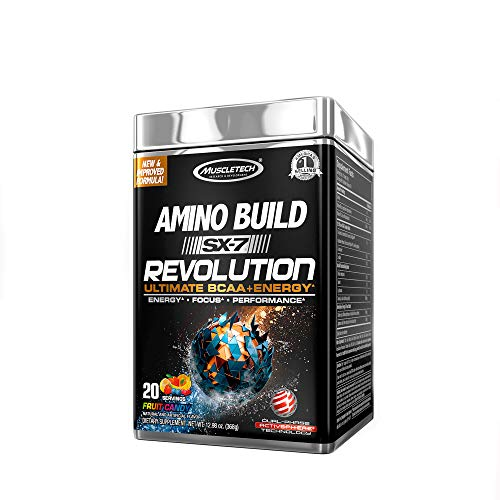 Pre Workout BCAA Amino + Energy | MuscleTech Amino Build SX-7 Revolution | 10g of BCAAs + Electrolytes | Support Muscle Recovery, Build Lean Muscle, Boost Endurance | Fruit Candy (20 Servings)