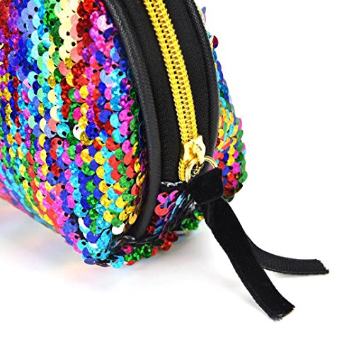 Women Double Zipper Cluthes Color Bag for Handbag Sequins Bag Wallet Multicolor Lavany Women 4dBqHfH
