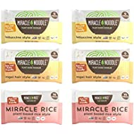 Miracle Noodle Zero Carb, Gluten Free Shirataki Pasta and Rice, 6 bag Variety Pack, 44 ounces (Includes: 2 Shirataki Angel Hair, 2 Shirataki Rice and 2 Shirataki Fettuccini)
