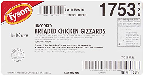 Tyson Foods Inc, Chicken Gizzards, Breaded/Uncooked/Frozen, 5 lb, (2 count)