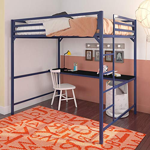 DHP Miles Full Metal Loft Bed with Desk, Blue