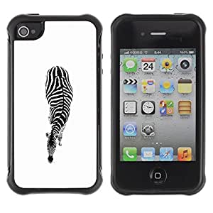 "Hypernova Defender Series TPU protection Cas Case Coque pour Apple iPhone 4 / iPhone 4S [Blanco Negro minimalistas Rayas""]"