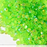 "100% Custom Made (5mm) 1000 Bulk Pieces of Mini Size ""Glue-On"" Flatback Embellishments for Decorating, Made of Acrylic Resin w/Shiny Iridescent Crafting Rhinestone Crystal Light Lime Style {Green}"