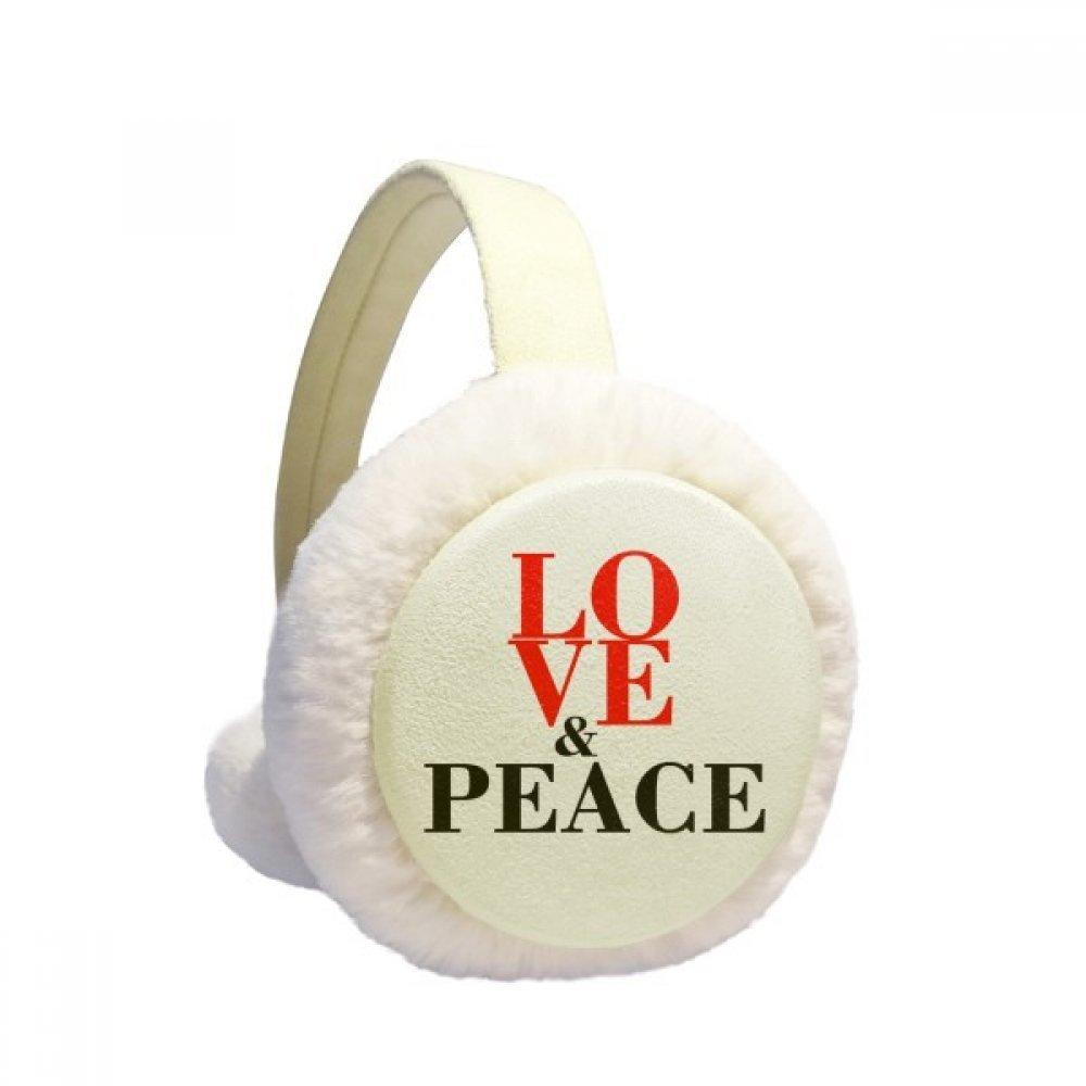 Love and Peace World No War Winter Earmuffs Ear Warmers Faux Fur Foldable Plush Outdoor Gift