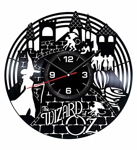 The Wizard of Oz Wall Clock Made of Vintage Vinyl Records - Stylish Clock and Amazing Gifts Idea – Unique Home Decor – Personalized Presents for Men Women Kids – Great for Living Room Bedroom Kitchen -
