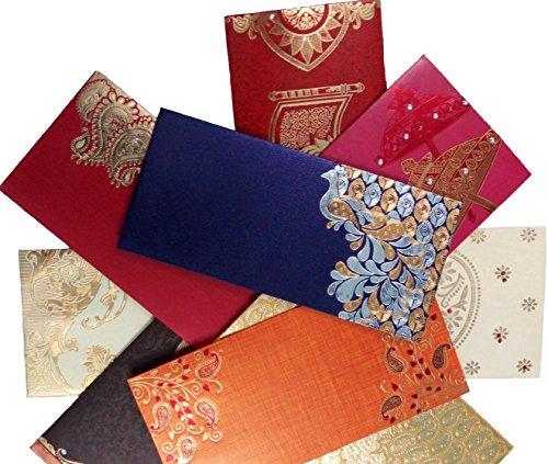 Wedding Gift Envelope Designs : IMPEX Premium Shagun Gift Envelope (Pack of 10) Assorted Color Designs ...