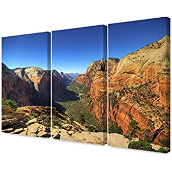 DECORARTS - Angel's Landing at Zion National Park, Utah.(Triptych). Giclee Canvas Prints for Wall Decor. 48x32