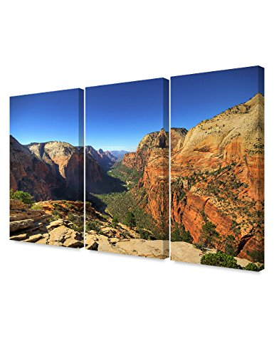 DecorArts - Angel's Landing at Zion National Park, Utah.(Triptych). Giclee Canvas Prints for Wall Decor. (Angel Canvas Art)